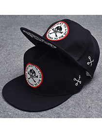 Trendy Black Skeleton Pattern Decorated Hip-hop Cap(adjustable)