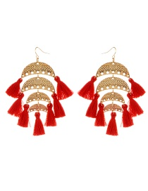 Fashion Red Semicircle Shape Decorated Tassel Earrings