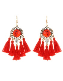Fashion Red Round Shape Diamond Decorated Tassel Earrings