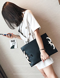 Personality Black Pure Color Decorated Square Shape Bag