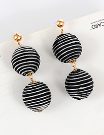 Fashoin Black Color-matching Decorated Round Earrings