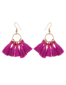 Bohemia Purple Tassel Decorated Earrings