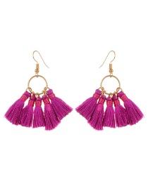 Bohemia Purple Tassel Decorated Earrings