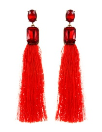 Elegant Red Square Shape Decorated Tassel Earrings