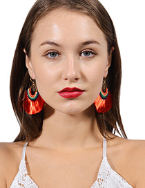 Bohemia Yellow Color-matching Decorated Tassel Earrings