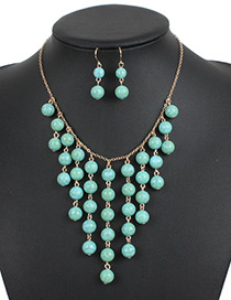 Elegant Green Round Shape Decorated Jewelry Sets