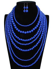Elegant Blue Pure Color Decorated Multilayer Jewelry Sets