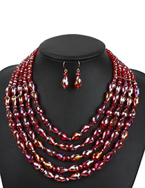 Elegant Red Waterdrop Shape Decorated Jewelry Sets
