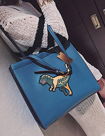 Personality Blue Dinosaur Shape Decorated Bag