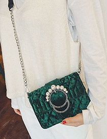 Elegant Green Round Shape Decorated Shoulder Bag
