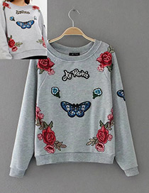 Fashion Gray Butterfly Shape Decorated Blouse