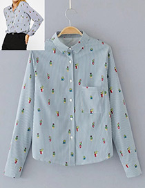 Fashion Blue Cactus Decorated Shirt