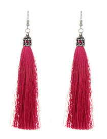 Plu Pure Color Decorated Tassel Earrings