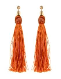 Bohemia Orange Pure Color Decorated Tassel Earrings