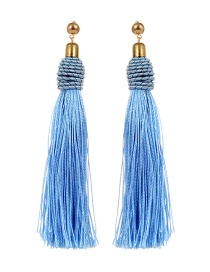 Bohemia Light Blue Pure Color Decorated Tassel Earrings