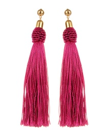 Bohemia Plum-red Pure Color Decorated Tassel Earrings