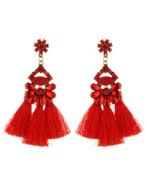 Vintage Red Oval Shape Decorated Tassel Earrings