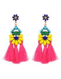 Vintage Multi-color Oval Shape Decorated Tassel Earrings