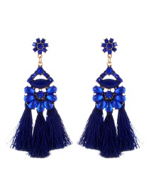 Vintage Sapphire Blue Oval Shape Decorated Tassel Earrings