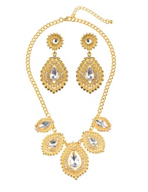 Luxury Gold Color Waterdrop Shape Diamond Decorated Jewelry Sets