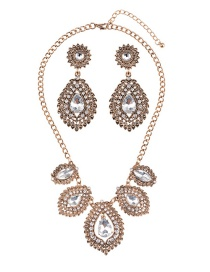 Luxury Antique Gold Waterdrop Shape Diamond Decorated Jewelry Sets