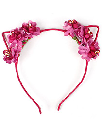 Lovely Plum-red Flower Shape Decorated Cat Ear Hair Clasp