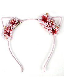 Lovely Red+pink Flower Shape Decorated Cat Ear Hair Clasp