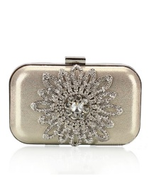 Luxury Gold Color Flower Shape Decorated Hand Bag