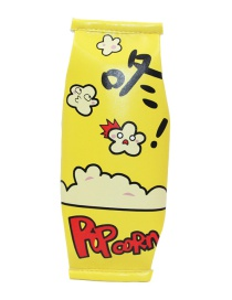 Fashion Yellow Popcorm Pattern Decorated Pencil Case