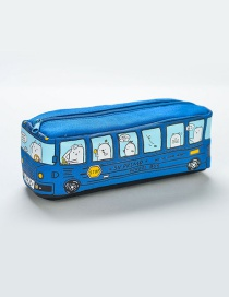 Fashion Blue Bus Pattern Decorated Pencil Case