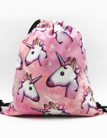 Fashion Pink Unicorn Pattern Decorated Backpack