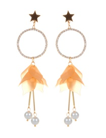 Elegant Light Orange Star Shape Decorated Earrings
