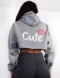 Lovely Gray Lips Shape Decorated Hoodie