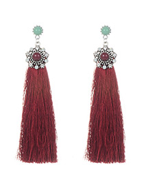 Elegant Claret-red Round Shape Decorated Tassel Earrings