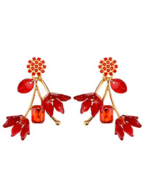 Elegant Red Flower Shape Decorated Earrings