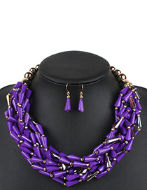 Fashion Purple Water Drop Decorated Jewelry Set