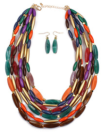 Fashion Multi-color Oval Shape Decorated Jewelry Set