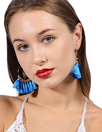 Vintage Blue Tassel Decorated Sector Shape Earrings