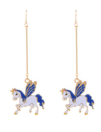 Fashion Gold Color+white Unicorn Shape Decorated Earrings