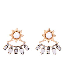 Fashion Gold Color Water Drop Decorated Earrings