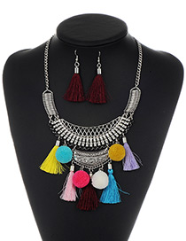Fashion Multi-color Tassel Decorated Pom Necklace