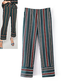 Fashion Green Stripe Decorated Trousers
