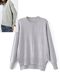Fashion Gray Pure Color Decorated Sweater