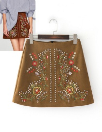 Fashion Khaki Embroidery Flower Decorated Skirt