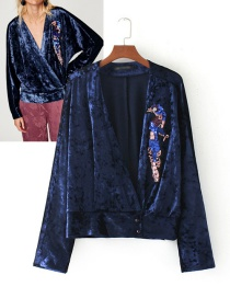 Fashion Sapphire Blue Sequins Decorated Coat