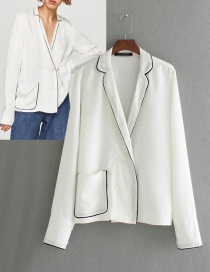 Fashion White Pure Color Decorated Coat