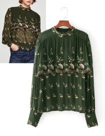 Fashion Green Embroidery Flower Decorated Smock
