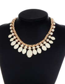 Fashion White Oval Shape Decorated Necklace