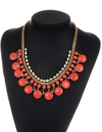 Fashion Orange Round Shape Decorated Necklace