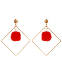 Fashion Red Square Shape Decorated Pom Earrings